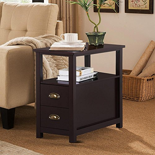 yaheetech chairside end table with 2 drawer and shelf